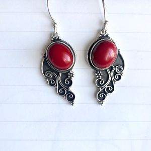 Jewelry - STERLING SILVER RED CORAL EARRINGS carved dangles